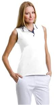 Picture of ARCC Ladies Gamegear Sleeveless Polo - White/Navy