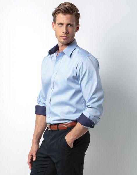 Picture of WICC Mens Kustom Kit Long Sleeve Shirt - Light Blue/Navy