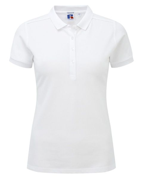 Picture of HCC Ladies Cotton Stretch Polo Shirt -  White